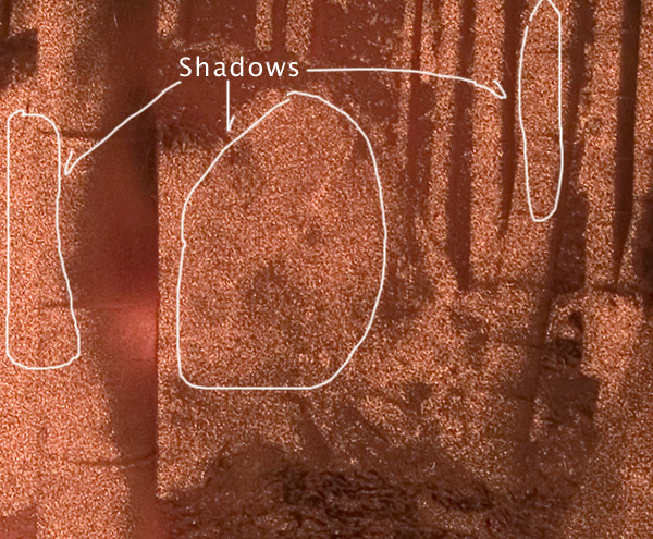Etched copperplate shadow areas
